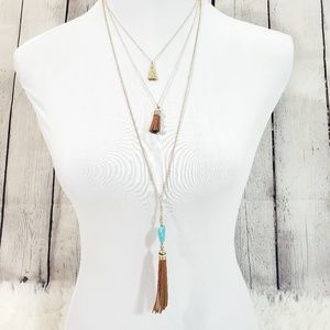 Multilayered golden  leather and stone necklace